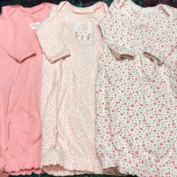 Lot of 2 Carter/'s 0-3 months infant sack nightgown pajamas pink
